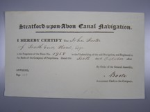 London Coins : A124 : Lot 101 : Great Britain, Stratford-upon-Avon Canal Navigation, certificate for share No.1958, date...