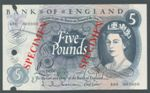 London Coins : A125 : Lot 224 : Five pounds Hollom B297s SPECIMEN serial A00 000000, 3 punch-holes at left, EF