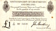 London Coins : A126 : Lot 110 : Treasury one pound Bradbury T11.1 prefix J/30, issued 1915, rust spot, Fine+
