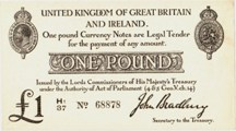 London Coins : A126 : Lot 112 : Treasury one pound Bradbury T11.2 serial H1/37 68878, issued 1915, scarce high grade, al...