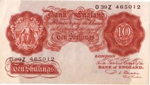 London Coins : A126 : Lot 182 : Ten shillings Beale B266 prefix O39Z issued 1950, GEF