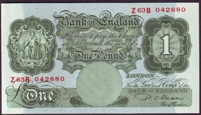 London Coins : A128 : Lot 185 : One pound Beale B268 prefix Z63B last sub-series issued 1950, almost UNC