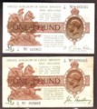 London Coins : A129 : Lot 98 : One pound Bradbury T16 prefix C/93 Fine and £1 Warren Fisher T24 prefix T/34 small tear, p...