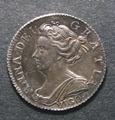 London Coins : A130 : Lot 1779 : Sixpence 1703 VIGO ESC 1582 A/UNC with subtle toning, the portrait particularly sharp