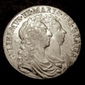 London Coins : A131 : Lot 1407 : Halfcrown 1689 Second Shield, Caul only frosted, with pearls, ESC 508 EF and lustrous wi...