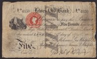London Coins : A133 : Lot 2418 : Lewes Old Bank £5 dated 1882 serial No.4850, ink cancelled  for Geo. Molineaux, Geo. W...