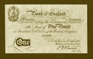 London Coins : A133 : Lot 2485 : One Pound Nairne Gold Note. A/1 000000. B208A. About UNC and very rare thus.