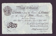 London Coins : A133 : Lot 2529 : Five Pounds White Catterns. B228. Newcastle. 5th September 1931. T/101 37685. Faded bank stamp in to...