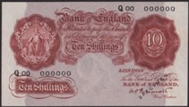 London Coins : A133 : Lot 2535 : Ten shillings Peppiatt SPECIMEN (B235s) issued 1934 serial Q00 000000, about UNC and scarce