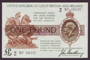 London Coins : A133 : Lot 3274 : One Pound Bradbury. T16. Large format. W/87 No. 191127. Excessively rare. UNC.