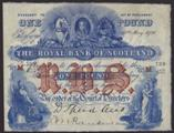 London Coins : A134 : Lot 1128 : Scotland Royal Bank square £1 dated 14th May 1926 last series M739/657, signed Speed/Ranki...