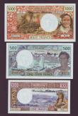 London Coins : A143 : Lot 243 : New Hebrides (3) issued 1977-80, 100 francs Pick18d, 500 francs Pick19d and 1000 francs Pick20d, usu...