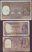 London Coins : A144 : Lot 254 : India (3) 100 rupees KGVI issued 1937 series B/17 999672, Calcutta, signed Deshmukh, Pick20e, staple...