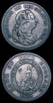 London Coins : A150 : Lot 1859 : Crown 1663 No Stops on Reverse ESC 27A Near Fine/Fine, comes with an old collector's ticket fro...