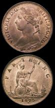 London Coins : A150 : Lot 2125 : Farthings (2) 1860 Beaded Border Freeman 499 dies 2+B UNC with around 40% lustre, 1875H Freeman 532 ...