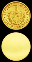 London Coins : A151 : Lot 860 : Cuba 5 Centavos 1968 Obverse and Reverse uniface trial pair, struck in gold, design as KM#34, 8.51 a...