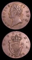 London Coins : A152 : Lot 1229 : Ireland Halfpennies (2) 1680 near Fine and 1760 VF