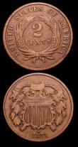 London Coins : A152 : Lot 1343 : USA (2) One Cent 1868 Breen 1975 NVF, Two Cents 1871 7 and 1 apart in date Breen 2406, Near Fine, Ra...