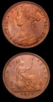 London Coins : A152 : Lot 2497 : Pennies (2) 1874H Freeman 66 dies 6+G GVF cleaned, Ex-J.Welsh 31/8/1999 £35, 1874 Freeman 67 d...