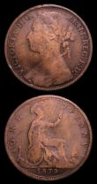 London Coins : A152 : Lot 2500 : Pennies (2) 1879 Close Date Freeman 98 dies 9+K Fair, rare, Ex-KB Coins 22/8/2000 £17.50, 1882...