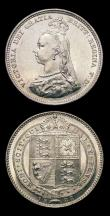 London Coins : A156 : Lot 3535 : Shillings (2) 1888 8 over 7 ESC 1353 Davies 983 GEF and lustrous, 1889 ESC 1355 Davies 986 dies 2D A...