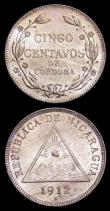 London Coins : A158 : Lot 1266 : Nicaragua (3) 5 Centavos 1912H KM#12 About UNC and lustrous, 1 Centavo 1912H KM#11 EF/GEF with some ...