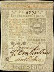 London Coins : A158 : Lot 550 : USA 15 Shillings dated 1st October 1773, PickS2540F, Pennsylvania, 'to counterfeit is DEATH...