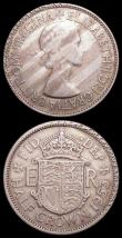 London Coins : A158 : Lot 812 : Mint Errors - Mis-Strikes (2) Halfcrown 1953 with the rim having been overstruck with lettering (?) ...