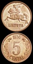 London Coins : A159 : Lot 2572 : Lithuania (3) 5 Centai 1936 KM#81 UNC with practically full lustre and a few small tone spots, 2 Cen...