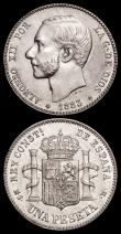 London Coins : A159 : Lot 3411 : Spain One Peseta 1883 (83) MS-M KM# 686 EF the obverse with some hairlines, 50 Centimos 1904 (04) SM...