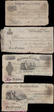 London Coins : A160 : Lot 163 : English Provincial Banknotes (4), Liverpool Bank 1 Guinea dated 1801 series No. 4105, for Sir Michae...