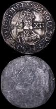 London Coins : A160 : Lot 1853 : Electrotype Shilling Charles I 1644 Bristol Mint as S.3016A a British Museum electrotype pair GVF wi...