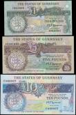 London Coins : A160 : Lot 364 : Guernsey (3), the States of Guernsey 10 Pounds, 5 Pounds & 1 Pound issued 1990 - 1991, second is...
