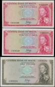 London Coins : A161 : Lot 379 : Malta Government (3), 1 Pound issued 1969 & 10 Shillings (2) issued 1968 (Law of 1967), signed P...
