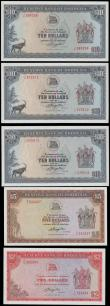 London Coins : A161 : Lot 412 : Rhodesia Reserve Bank (5), 10 Dollars (3) dated 1979 & 1976 including a pair of consecutively nu...