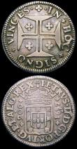 London Coins : A162 : Lot 2947 : Portugal 200 Reis 1687 KM#148 Fine, 20 Reis undated issue (1706-1777) KM#235 Reverse: Cross with Ros...