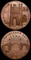 London Coins : A162 : Lot 849 : Halfpennies 18th Century (2) Suffolk - Beccles 1795 DH6 Obverse Church/Reverse: Bridge UNC with trac...