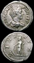London Coins : A163 : Lot 225 : Roman Ar Denarius (3) Geta (200-202AD) Obverse: Draped bust right P SEPT GETA CAES PONT, Reverse: Ge...