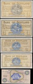 London Coins : A165 : Lot 1020 : Scotland 1 Pounds Bank of Scotland (5) comprising Calloway & Murphy BA 98b ( Pick 96b ) 17th Sep...
