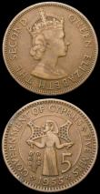 London Coins : A165 : Lot 1445 : Mint Error - Mis-Strike Cyprus 5 Mils 1955 on a smaller 23mm diameter flan, Fine, comes with the sta...