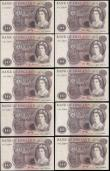 London Coins : A165 : Lot 219 : Ten Pounds Lion & Key (10) Hollom (2) 1964 issue B299 series A05 365738 GEF and A33 692875 GVF b...