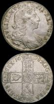 London Coins : A165 : Lot 2767 : Halfcrowns (2) 1689 First Shield, Caul only frosted, with pearls,  ESC 505, Bull 831 Fine or slightl...
