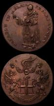 London Coins : A165 : Lot 3675 : Halfpennies 18th Century (3) Cambridgeshire 1795 DH12 Obverse Druid's Head/ Reverse: Beehive an...