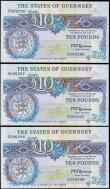 London Coins : A165 : Lot 826 : The States of Guernsey 10 Pounds Replacement notes a consecutive trio Pick 50r (Banknote Yearbook GU...