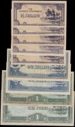 London Coins : A165 : Lot 990 : Oceania Japanese Occupation Currency (9) a mixed group in various grades Fine to about UNC comprisin...