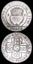 London Coins : A166 : Lot 2883 : Swiss Cantons (2) Geneva 10 Centimes 1847 A-B KM#134 Lustrous UNC with hints of toning, Solothurn Ba...