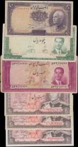 London Coins : A166 : Lot 289 : Iran (6) in mixed grades comprising Bank Melli issues (3) including 10 Rials Pick 33A SH1317 blue st...
