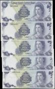 London Coins : A167 : Lot 1459 : Cayman Islands Currency Board 1 Dollars Jefferson signature Queen Elizabeth II Law of 1974 issues (5...