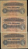 London Coins : A167 : Lot 1479 : East Africa Currency Board 5 Shillings Pick 33 1953-57 issues (3) comprising a first year of issue d...