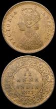 London Coins : A167 : Lot 1845 : Mint Error - Mis-Strike India 1/12 Anna 1877, KM#483 the 1 of the date and the 1 of the fraction bot...